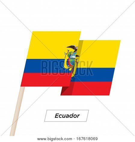 Ecuador Ribbon Waving Flag Isolated on White. Vector Illustration. Ecuador Flag with Sharp Corners