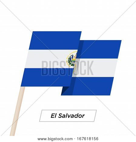 El Salvador Ribbon Waving Flag Isolated on White. Vector Illustration. El Salvador Flag with Sharp Corners