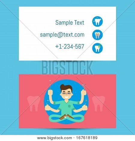 Cartoon man in medical uniform with many hands holding dentist equipment, vector illustration. Professional business card template for dentists. Multi skill concept. Dental office visiting card.