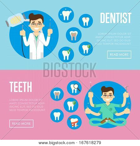 Male dentist in medical uniform with many hands holding instruments and sitting in lotus posture. Smiling dentist in white coat holding dental instruments. Dental office vector illustrations