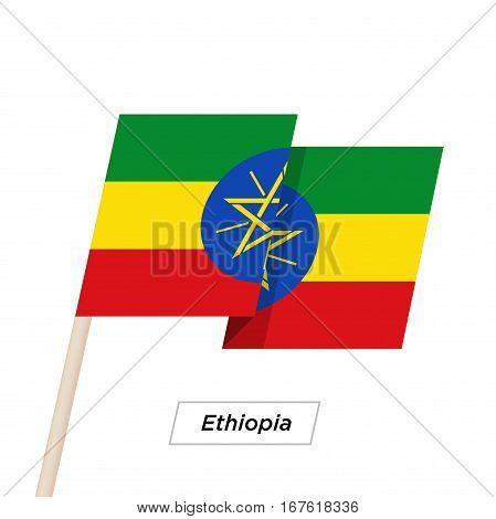 Ethiopia Ribbon Waving Flag Isolated on White. Vector Illustration. Ethiopia Flag with Sharp Corners