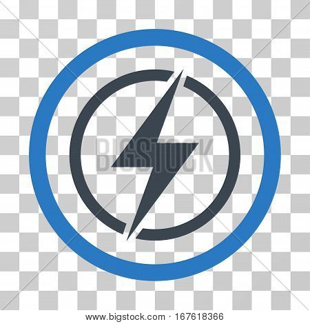 Electrical Hazard rounded icon. Vector illustration style is flat iconic bicolor symbol inside a circle smooth blue colors transparent background. Designed for web and software interfaces.