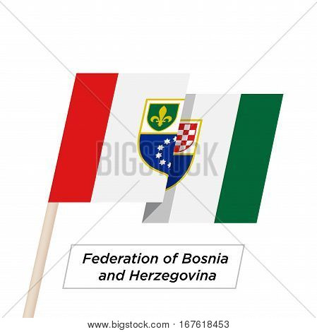 Federation Bosnia and Herzegovina Ribbon Waving Flag Isolated on White. Vector Illustration. Federation Bosnia and Herzegovina Flag with Sharp Corners