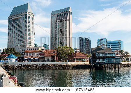 SAN DIEGO, CALIFORNIA - JANUARY 8, 2017:  Bay area with Seaport Village shopping and dining complex and nearby hotels.