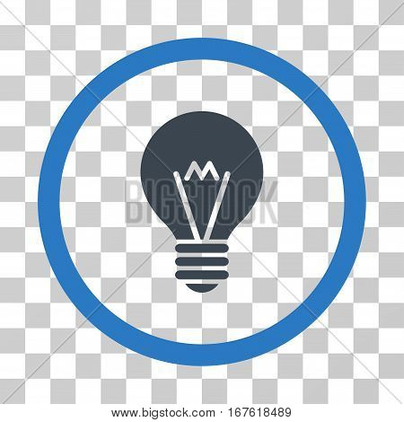 Hint Bulb rounded icon. Vector illustration style is flat iconic bicolor symbol inside a circle smooth blue colors transparent background. Designed for web and software interfaces.