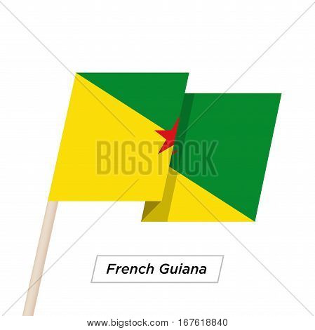 French Guiana Ribbon Waving Flag Isolated on White. Vector Illustration. French Guiana Flag with Sharp Corners
