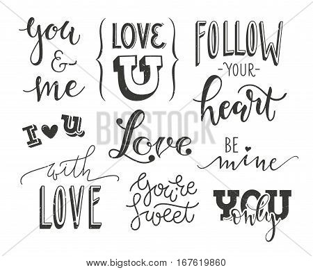 Set of romantic calligraphic headlines for Valentines Day design. Vector handwritten collection. EPS10.