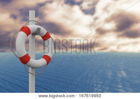 Composite image of life belt with rope hanging on pole against blue sky with clouds 3d
