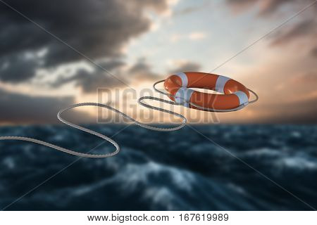 Digital image of life belt against blue and orange sky with clouds 3d