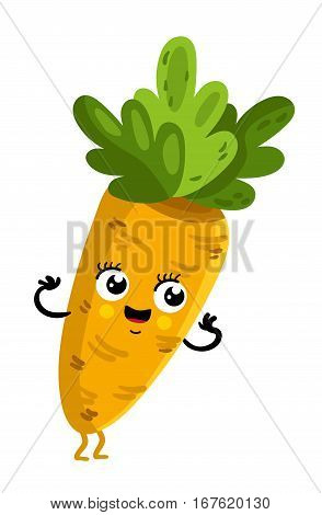 Cute vegetable carrot cartoon character isolated on white background vector illustration. Funny positive and friendly carrot emoticon face icon. Happy smile cartoon face, comical vegetable mascot