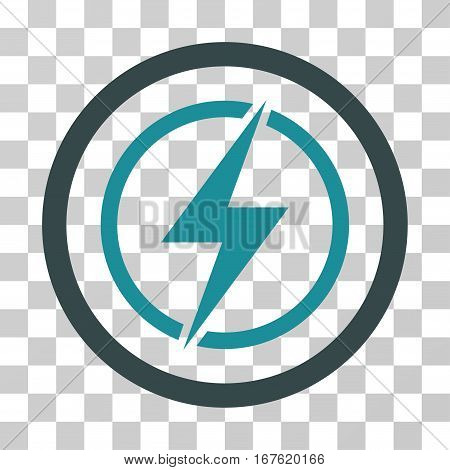 Electrical Hazard rounded icon. Vector illustration style is flat iconic bicolor symbol inside a circle soft blue colors transparent background. Designed for web and software interfaces.
