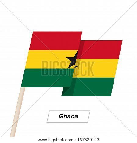 Ghana Ribbon Waving Flag Isolated on White. Vector Illustration. Ghana Flag with Sharp Corners