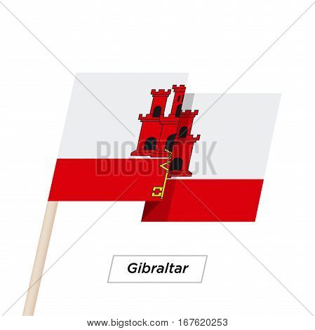 Gibraltar Ribbon Waving Flag Isolated on White. Vector Illustration. Gibraltar Flag with Sharp Corners