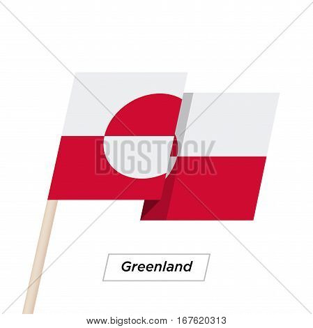 Greenland Ribbon Waving Flag Isolated on White. Vector Illustration. Greenland Flag with Sharp Corners