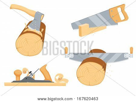Chopping ax, hack and two handed saw, rasp jack-plane. Repair tool. Joinery, woodcutter, lumberjack, builder or carpenter instruments. Woodworking process vector illustration isolated on white.