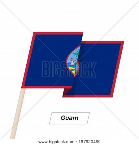 Guam Ribbon Waving Flag Isolated on White. Vector Illustration. Guam Flag with Sharp Corners