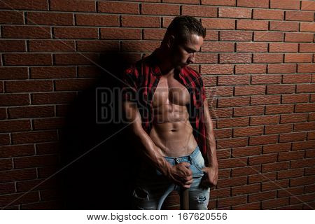 Man Standing Strong On Wall Of Bricks