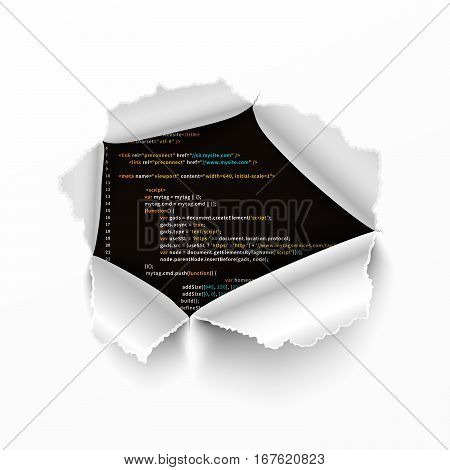 Torn hole in white sheet of paper on complicated program code
