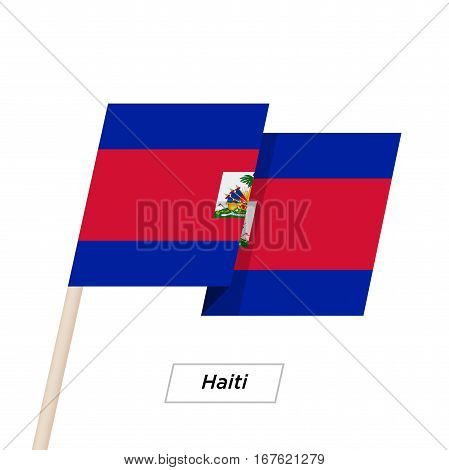Haiti Ribbon Waving Flag Isolated on White. Vector Illustration. Haiti Flag with Sharp Corners