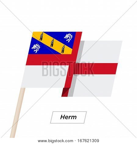 Herm Ribbon Waving Flag Isolated on White. Vector Illustration. Herm Flag with Sharp Corners