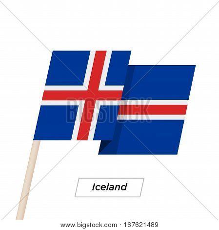 Iceland Ribbon Waving Flag Isolated on White. Vector Illustration. Iceland Flag with Sharp Corners