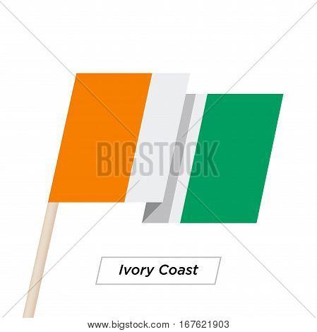 Ivory Coast Ribbon Waving Flag Isolated on White. Vector Illustration. Ivory Coast Flag with Sharp Corners