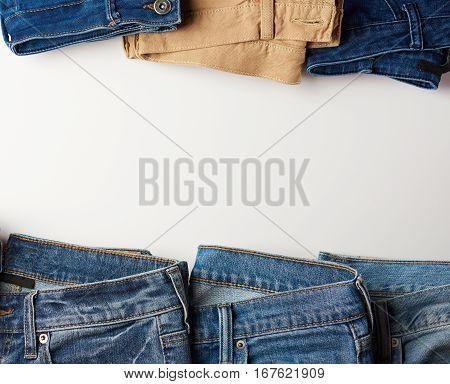 Jeans Frame On White Background