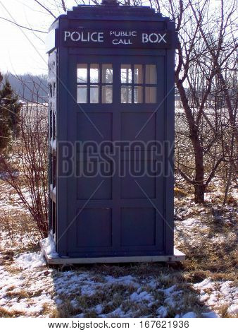 Police Call in a box Traditional Police Box blue British English