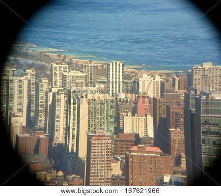 telescope aerial view of Chicago Gold Coast