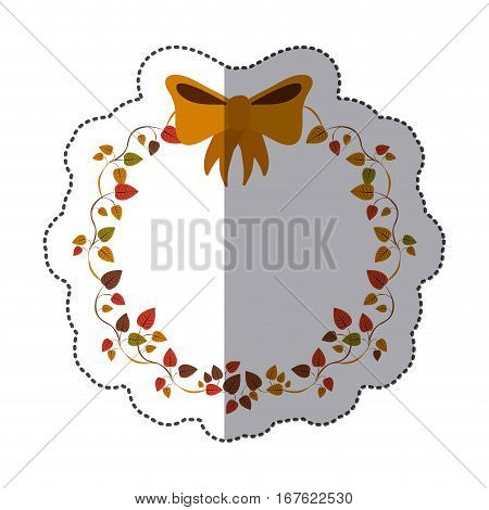 sticker border of creepers with ochre bow vector illustration