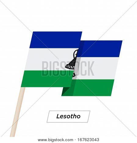 Lesotho Ribbon Waving Flag Isolated on White. Vector Illustration. Lesotho Flag with Sharp Corners