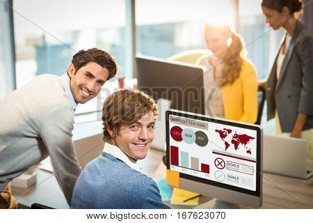 Composite image of business presentation with charts and text against businessmen smiling at office