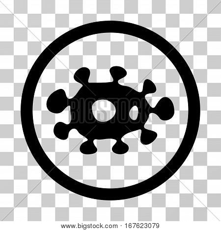 Virus rounded icon. Vector illustration style is flat iconic symbol inside a circle black color transparent background. Designed for web and software interfaces.