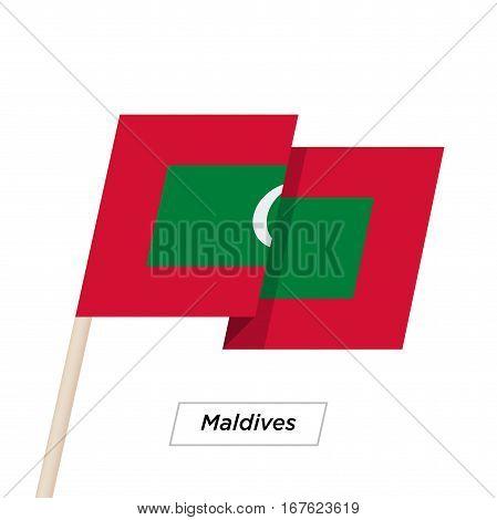 Maldives Ribbon Waving Flag Isolated on White. Vector Illustration. Maldives Flag with Sharp Corners