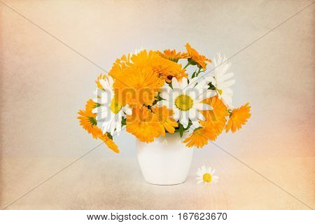 Bouquet of daisies, calendula in a white vase on a light background. Vintage toning.