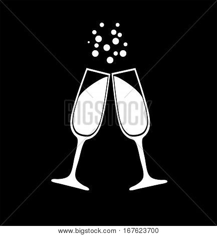 vector illustration of champagne glasses with bubbles silhouettes
