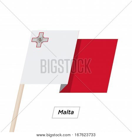 Malta Ribbon Waving Flag Isolated on White. Vector Illustration. Malta Flag with Sharp Corners