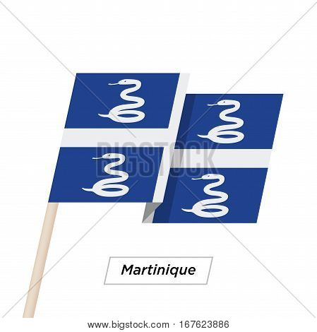 Martinique Ribbon Waving Flag Isolated on White. Vector Illustration. Martinique Flag with Sharp Corners