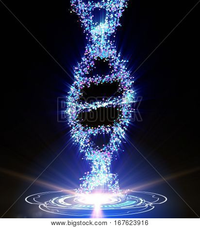 Spiral strand of DNA on the dark background. 3D illustration