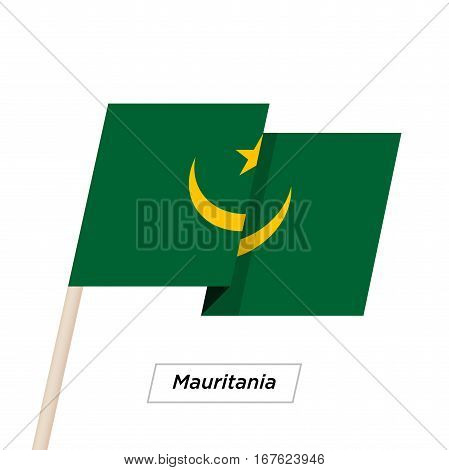 Mauritania Ribbon Waving Flag Isolated on White. Vector Illustration. Mauritania Flag with Sharp Corners