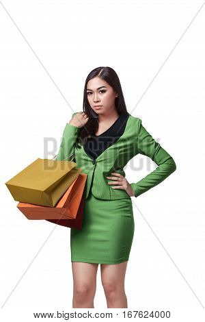 Young Asian Business Woman With Shopping Bags