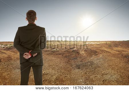 Back View Of Asian Businessman On Dry Ground And Sunset