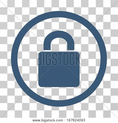 Lock rounded icon. Vector illustration style is flat iconic symbol inside a circle blue color transparent background. Designed for web and software interfaces.