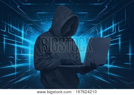 Hacker Man With Mask Using Laptop While Standing