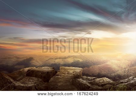 Landscape On The Top Of The Hill Looking Wonderful Scenery