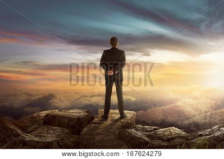 Back View Of Asian Businessman On The Top Of The Hill Looking Wonderful Scenery
