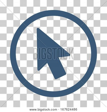 Mouse Pointer rounded icon. Vector illustration style is flat iconic symbol inside a circle blue color transparent background. Designed for web and software interfaces.