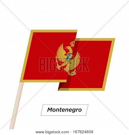 Montenegro Ribbon Waving Flag Isolated on White. Vector Illustration. Montenegro Flag with Sharp Corners