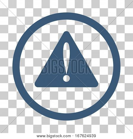 Warning Error rounded icon. Vector illustration style is flat iconic symbol inside a circle blue color transparent background. Designed for web and software interfaces.