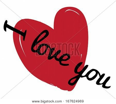 vector illustration of valentine card with heart and love you text